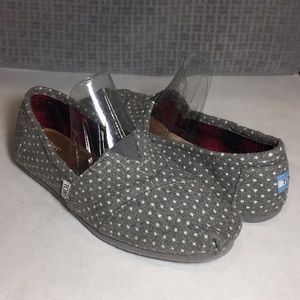 TOMS Classic Gray & White Dots Shoes Size 9